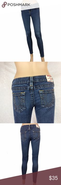 """Authentic True Religion skinny jeans Authentic dark wash True Religion skinny jeans size 25. Has whiskering on near the zipper area. these are super skinny jeans with lots of stretch to the fabric. mannequin is 5'8. inseam is approx. 28.5"""" True Religion Jeans Skinny"""