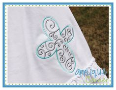 Cross Swirl Filled Embroidery Design
