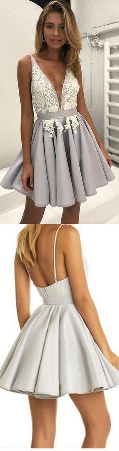A-Line Short V-Neck Lace Appliques Prom Dresses Homecoming Dresses #homecoming #homecomingdresses #prom #promdress #lacedress #shortdress