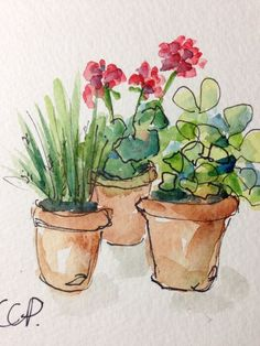 Potted Blooms Watercolor Card by gardenblooms on E. Potted Blooms Watercolor Card by gardenblooms on Etsy Pen And Watercolor, Watercolour Painting, Watercolor Flowers, Painting & Drawing, Watercolors, Watercolor Succulents, Watercolor Ideas, Guache, Watercolor Techniques