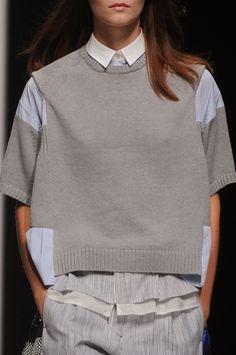 Sacai Spring 2013 - Details; grey sweater, white collar, thin lined seersucker-type trouser pants. xo