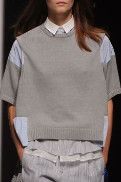 Sacai Spring 2013 - Details; grey sweater, white collar, thin lined seersucker-type trouser pants. xo