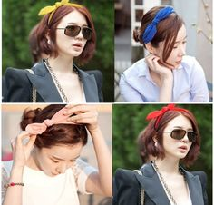 Smile Korean Fashion Brief Candy Color Chiffon Bow Fabric Hair Bands Head Bands Hair Accessories * For more information, visit image link.