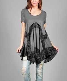 2d1b7e2a4 Look at this  zulilyfind! Gray   Black Lace-Accent Handkerchief Tunic - Plus