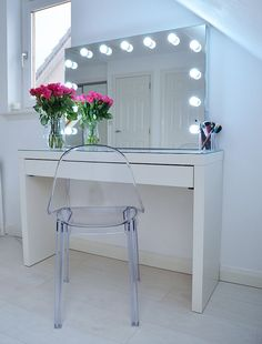 Ikea Malm dressing table - perfect for a stylish white bedroom.