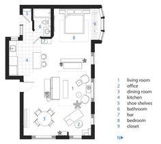 Great smallish loft layout (and design) - Justyn & Kate's Brick Mid-Century