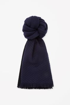 Made from extra-soft wool, this scarf has fine diagonal pleats for a raised stripe effect. A large style, it is finished with frayed edges and a contrast colour underside. Color Blocking, Colour Block, Wool Scarf, My Wardrobe, Girl Fashion, Scarves, Clothes For Women, Stylish, Cos