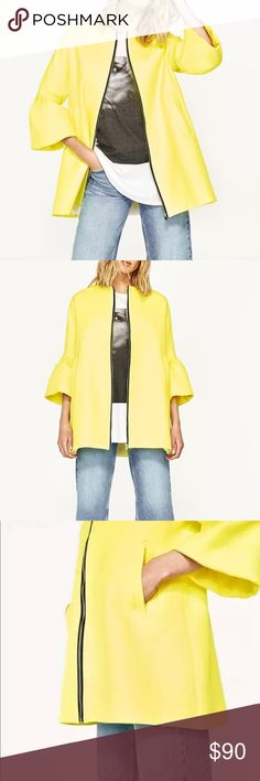 NWT Zara Bright Yellow Bell Sleeve Zip Coat ZARA FRILLED SLEEVE COAT WITH CONTRASTING ZIP  SOLD OUT IN STORES  FROM THE SPRING-SUMMER 2017 COLLECTION  STUNNING YELLOW COTTON SHORT COAT  WITH BLACK CONTRASTING ZIP AND FRILLS ON SLEEVES AS SEEN ON FASHION BLOGGERS   AND ZARA LOOKBOOK Zara Jackets & Coats Pea Coats