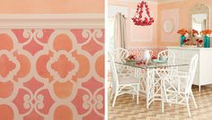 Just what I was looking for. Moroccan Stenciled wainscoting.