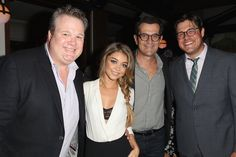 Pin for Later: Stars Kick Off the Emmy Celebrations!  Meanwhile, Julie's Modern Family costars Eric Stonestreet, Sarah Hyland, and Ty Burrell met up with Mad Men's Rich Sommer.
