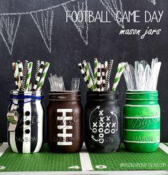 Football Party Mason Jars - Father's Day Gift Ideas - Mason Jar Crafts for Father's Day - Mason Jar Gifts for Father's Day - Kid's Crafts for Father's Day @Mason Jar Crafts Love blog