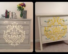 Custom Designed 3 drawer painted dressers with large Damask stencil, or stenciled drawers- custom furniture, painted furniture, shabby chic