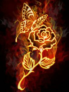 Neon Gold rose and butterfly on fire design