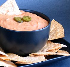 Easy White Bean Queso Dip:  Ingredients:  *1 (15-ounce) can white beansdrained, rinsed, and blotted dry  *1 (10-ounce) can Rotelle tomatoes with green chilies, well drained  *3 tablespoons nutritional yeast  *2 tablespoons cornstarch  *1/2 teaspoon garlic powder  *1/2 teaspoon onion powder  *1/2 teaspoon smoked paprika  *1/4 teaspoon prepared yellow mustard  *1/4 teaspoon cayenne (optional)  *1/4 teaspoon salt  *1 1/2 tablespoons fresh lemon juice  *Sliced pickled jalapenos, for garnish