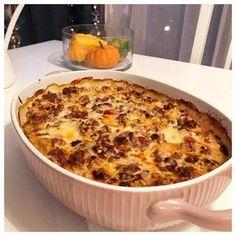 Inspirationen var noll påväg hem från jobbet igår. När jag kom hem vände det dock och jag testade att göra en blomkål & köttfärsgratäng. Och den blev super god!! Och det bästa av allt var att det blev matlådor över så nu har jag även denna till lunch. Du behöver: 1/2 blomkål 500 gram köttfärs 1 gullök (hackad) 2 vitlöksklyftor (hackad/pressad) 2msk tomatpuré 1dl rödvin 2msk kalvfond 1 tsk sambal oelek 1 burk krossade tomater 1 msk torkad basilika 1 dl riven ost (sista 15min i u...