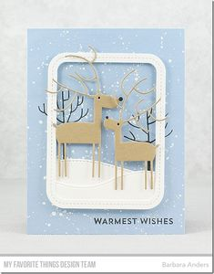 Stamps: Snow Globe Sentiments, Modern Trees Die-namics: Stitched Snow Drifts, Deer Love, Single Stitch Line Rounded Rectangle Frames Barbara Anders #mftstamps