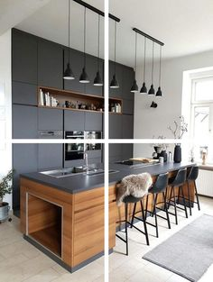 ✔️ 33 Modern Kitchen Remodel Ideas That Look Fun Things You Need To Know About The Basics Of Modern Kitchen Design And Remodeling 25 Modern Kitchen Cabinets, Modern Kitchen Design, Interior Design Kitchen, Kitchen Decor, Kitchen Ideas, Best Kitchen Lighting, Grey Countertops, Cuisines Design, Room Decor Bedroom