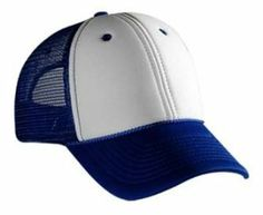 Blank Mesh Trucker Hat/Cap - Baseball, Golf, Fishing - Royal/White by IGC. $7.95. Firm Front Panel. Low-Fitting. Polyester Foam Front Low Profile Pro Style Mesh Back Caps. 100% Polyester Front 100% Nylon Mesh Back. Constructed. 6-panel cap Seamed Front Panel with Lining 6 Embroidered Eyelets Matching Visor Color Matching Mesh Color Braid 8 Rows Stitching on Visor Matching Fabric Undervisor Matching Color Sweatband Plastic Adjustable Snap