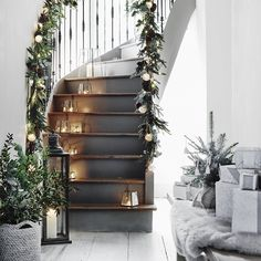 40 Christmas Decorations Ideas to Bringing the Christmas Spirit Christmas spirit from the White Company Noel Christmas, Winter Christmas, Xmas, Christmas Hallway, Christmas Garlands, English Christmas, Simple Christmas, Banister Christmas Decorations, Lantern Christmas Decor
