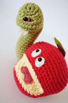 e82581c6196 Scared Red Apple with Monster Worm Crochet Humor