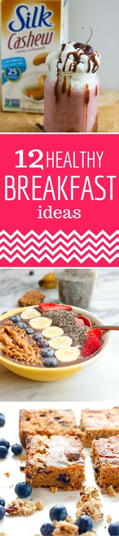 Check out these 12 healthy breakfast ideas including Paleo Coconut Flour Pancakes, Coconut Lemon Poppy Seed Loafs, Blueberry Carrot Cake Bars, Low-Carb Vegetable Frittatas, Ultimate Smoothie Bowls, Island Blast Green Smoothies, Banana Split Smoothies, French Toast Sticks Crock-Pot Maple Cinnamon Steel Cut Oatmeal, Best Ever Bircher Muesli, Whole Grain Pumpkin Spice Waffles, and Butternut Squash Frittatas with Fried Sage.