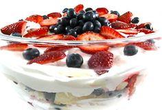 """""""No Bake"""" Skinny Strawberry Shortcake Trifle"""