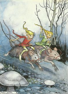 """Helen Jacobs (1888-1970), """"Elves Mice-racing"""" ... not sure that this is supposed to be funny, but it's cracking me up ;)"""