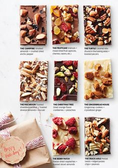 Looking for Christmas food gift ideas? Check out these recipes for Chocolate Bark Candy from Midwest Living. 8 delicious varieties that would make perfect Xmas gifts. Candy Recipes, Sweet Recipes, Holiday Recipes, Dessert Recipes, Xmas Desserts, Christmas Recipes, Holiday Baking, Christmas Baking, Baked Gifts For Christmas