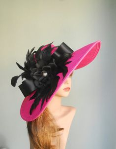 Hot Pink Wedding Hat Head Piece Kentucky Derby Hat Hot Pink Bridal Coctail Hat Couture Fascinator  Bridal Hat on Etsy, Sold