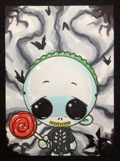 Sugar Fueled Barrel The Nightmare Before Christmas Lollipop NBC lowbrow pop surrealism creepy cute big eye ACEO mini print on Etsy, $4.00