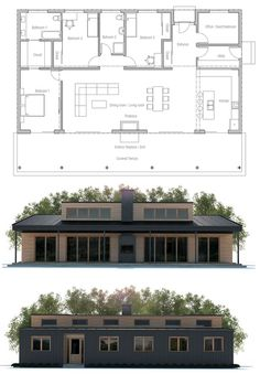 House Plans in Modern Architecture. Sims House Plans, Dream House Plans, Small House Plans, House Floor Plans, My Dream Home, Casas Containers, Concept Home, House Blueprints, House Layouts