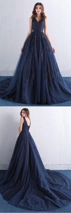Dark blue v neck tulle lace long prom dress, blue evening dress