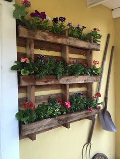 Do-it-yourself outdoor vertical gardens: lots of creative recycling ideas Succulent Hanging Planter, Diy Planter Box, Diy Planters, Hanging Planters, Wood Shop Projects, Diy Pallet Projects, Garden Projects, Pallet Ideas, House Plants Decor