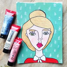 Original painting of a portrait of a woman - with botanical pattern in green and red door XantheCS op Etsy