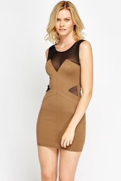 Mesh Insert Sweetheart Bodycon Dress Cheap Dresses, Get The Look, Mesh, Bodycon Dress, Model, How To Wear, Stuff To Buy, Brown, Fashion