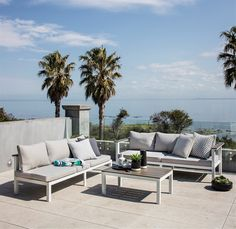 Excalibur Outdoor Living Getaria L-Shaped Lounge Set with Table Outdoor Lounge Furniture, Outdoor Sofa, Outdoor Living, Outdoor Decor, Contemporary Lounge, Outdoor Entertaining, Sun Lounger, My House, Relax