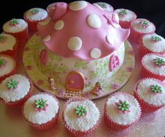 Adorable!! Mushroom Fairy Cottage Cake and Cupcakes