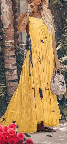 Sexy Fashion Sleeveless Cute Print Maxi Dress herhershoes Buy now dresses Hippie Dresses, Boho Dress, Dress Skirt, Vetement Hippie Chic, Boho Outfits, Cute Outfits, Fashion Clothes, Fashion Dresses, Dresses Dresses
