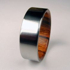 wood and titanium ring: nice for a man's wedding ring..traditional on the outside, unique on the inside.
