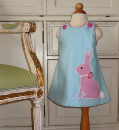 Blushing Bunny  Girls Bunny Dress with Piping by RennyClothing, $40.00