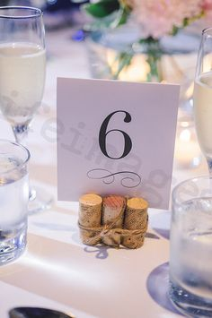 Wine corks table numbers  Karen + Patrick - Wedding, photo by: lifeimages. Event by Love Kristine Events