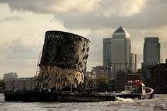 A replica of a funnel from the RMS Titanic being towed on the Thames in London, 2010.
