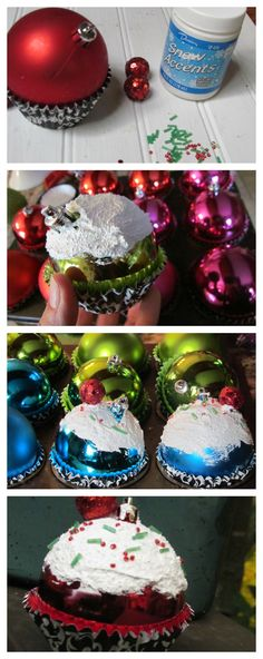 Make these super easy DIY Cupcake Ornaments for a party or to decorate your tree. So easy you can make them in bulk for a party favor. Christmas Cupcakes Decoration, Diy Christmas Ornaments, Simple Christmas, All Things Christmas, Christmas Time, Christmas Pictures, Holiday Decorations, Christmas Recipes, Christmas Decor