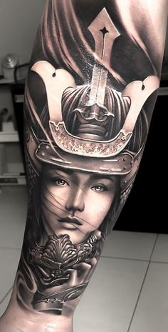 I seriously fancy the pigments, lines, and linework. This is a good artwork if you want a Female Samurai Tattoo, Samurai Warrior Tattoo, Warrior Tattoos, Japanese Tattoo Art, Japanese Tattoo Designs, Japanese Sleeve Tattoos, Asian Tattoos, Girl Tattoos, Samurai Girl