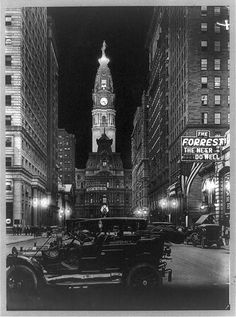 [Night view of Broad Street with lit tower of City Hall, Philadelphia, Pennsylvania]