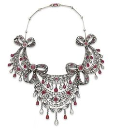 Antique Ruby And Old Mine-Cut Diamond Festoon Necklace Mounted In Silver-Topped Gold    c.1860's Christie's
