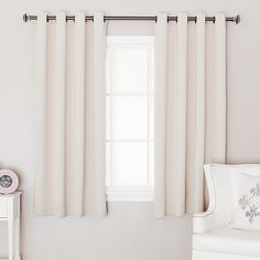 short curtains - square bedroom window