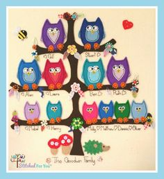 So cute x #stitchedforu #familytree #owls #handmade #personalised #colourful message me to order x stitchedforyou@btinternet.com