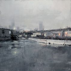 """Trainyard in Blues"", Oil on Panel, 36 x 36 inches, 2011. By Jeremy Mann."