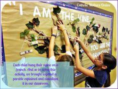 I Am the Vine Scripture Verse Activity Missions Bulletin Board, Catholic Bulletin Boards, Christian Bulletin Boards, School Bulletin Boards, Catholic Schools Week, Catholic Kids, Kids Church, Church Ideas, Catholic Icing